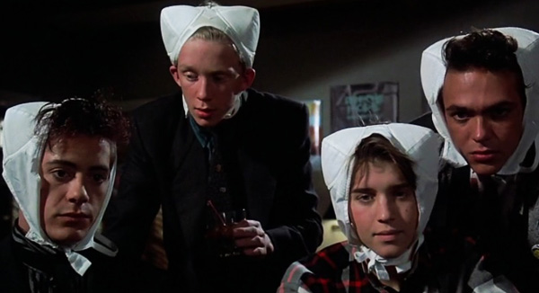 weird science bras on head anthony michael hall robert downey jr review 1